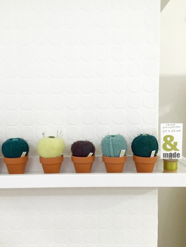Knitted Cactus pin cushions, &made