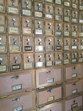 Original post offices boxes from the 1930's in the lobby of the Mob Museum