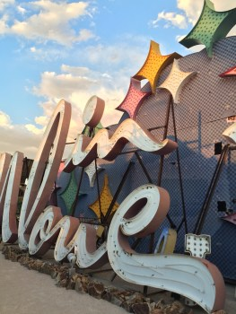 """Letters taken from the Moulin Rouge Casino, reordered to spell """"In Love"""" at The Neon Boneyard Neon Museum Las Vegas"""
