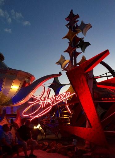 Liberarce, Stardust and Aladdin signs at the Neon Bone Yard, Neon Museum, Las Vegas