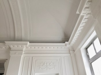 Original Art Deco decorative ceiling and decorative panels in the top floor Ballroom Green Rooms, Wood Green