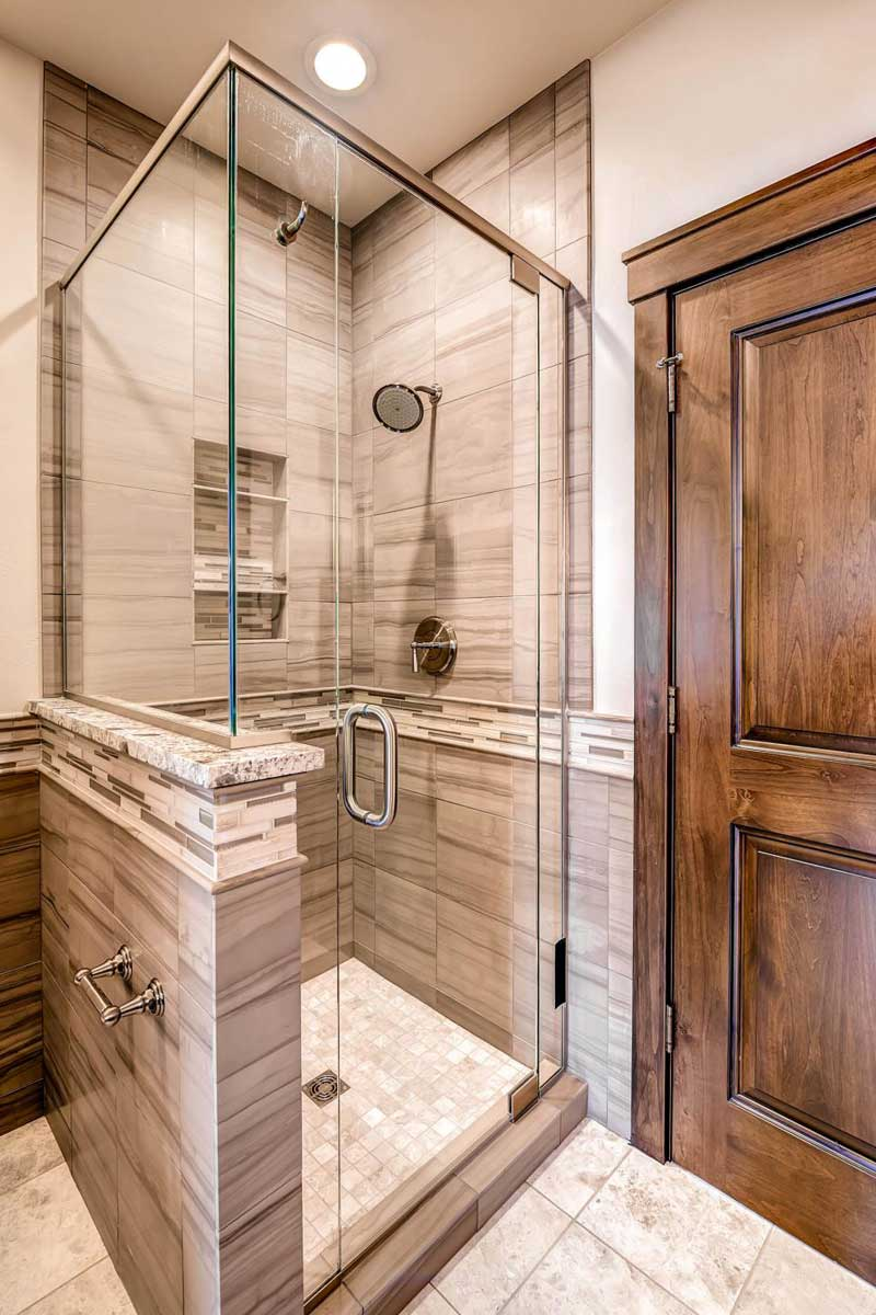 Bathroom with Gray Tile and Glass Shower