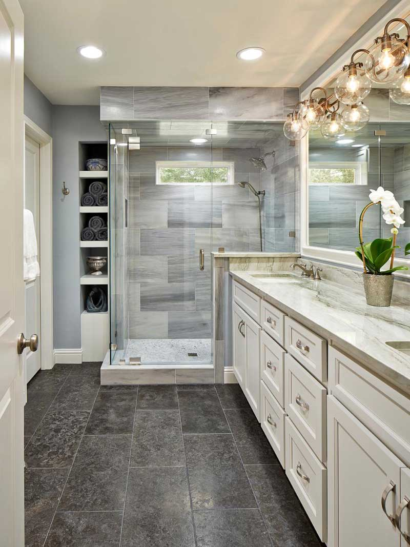 Bathroom with Limestone Floors