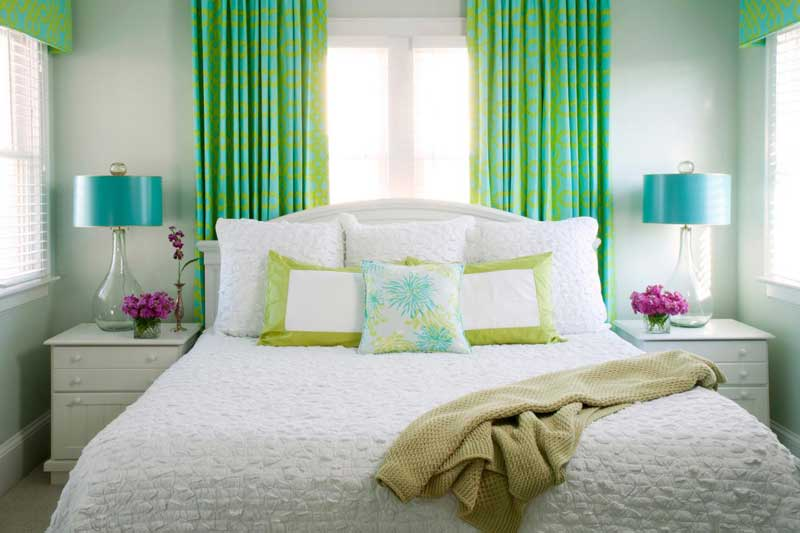 Bedroom with Lime green and aqua blue Accents
