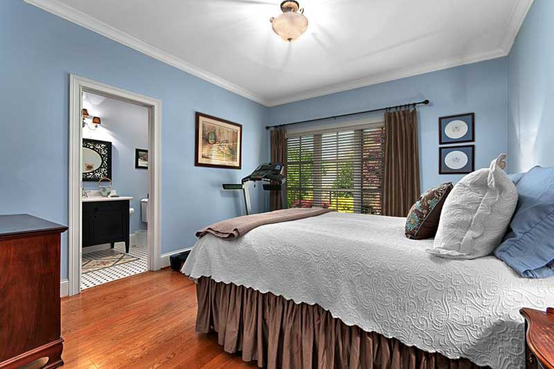 Blue Bedroom with Brown Accents