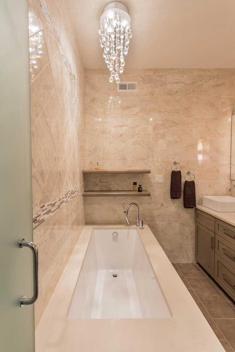 Contemporary Bathroom with Corner Tub
