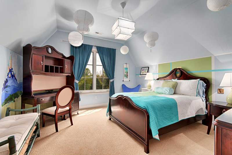 Eclectic Bedroom with White Paper Lanterns