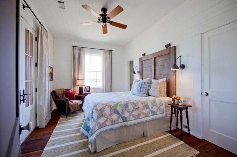 Farmhouse Bedroom with Wood Shutter Headboard