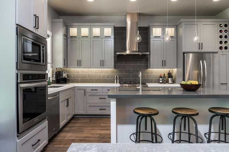Kitchen with Gray Color Schemes