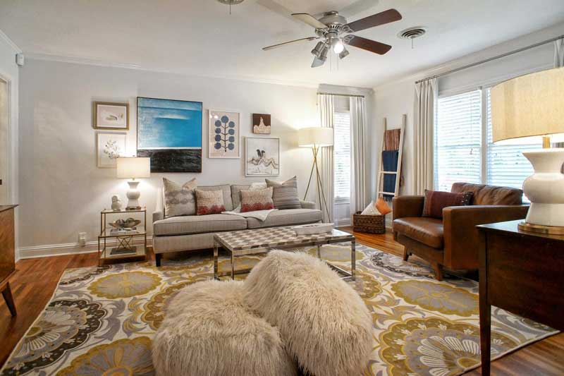 Living Room with Bold Floral Area Rug