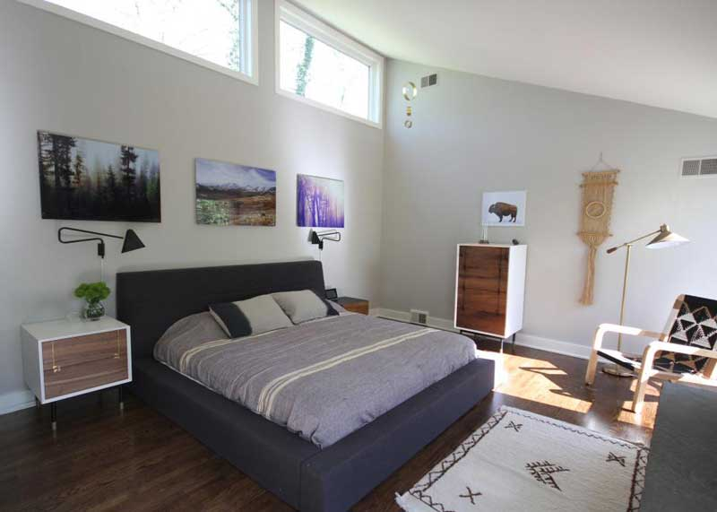Midcentury-Modern Bedroom with Rugged Simplicity