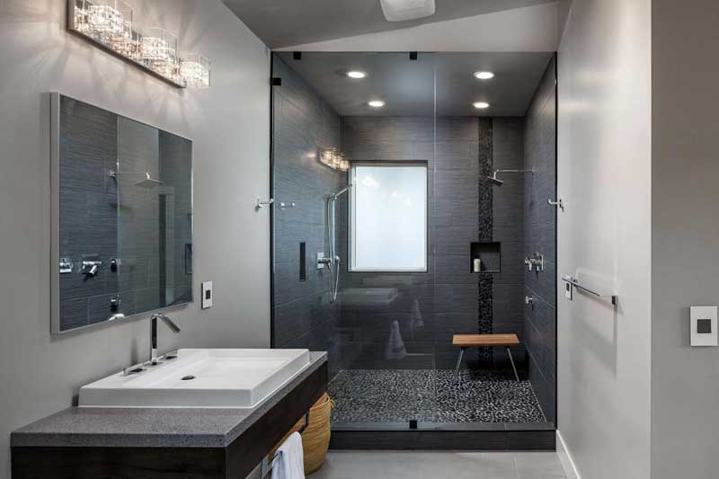 Modern Bathroom With Black Shower