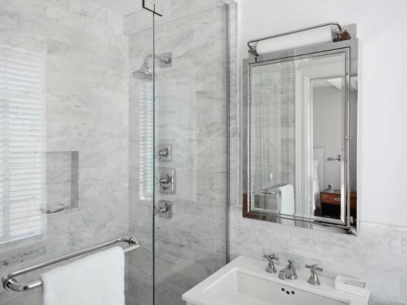 White Modern Bathroom With Marble Tile