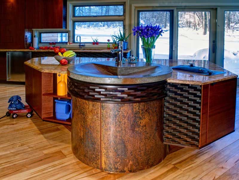 Angular Kitchen Island With Integrated Sink