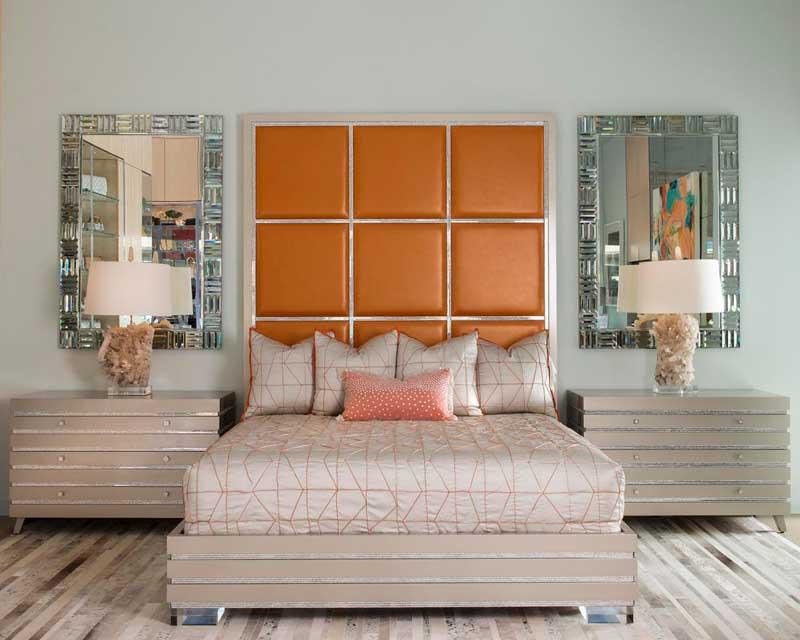 Bedroom With Bold Orange Headboard