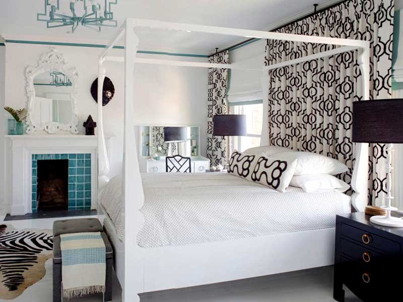 Black and White Bedroom With Chandelier