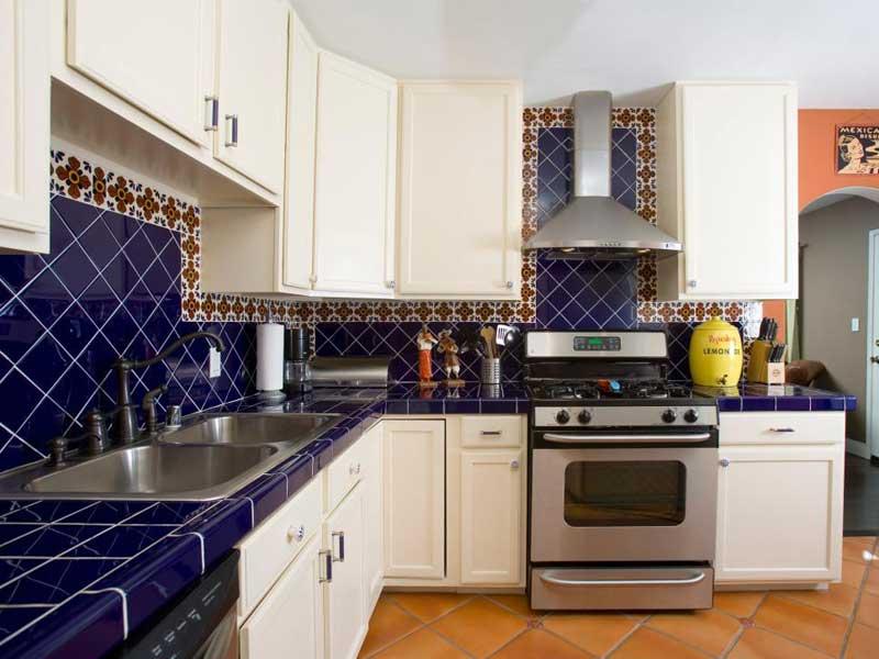 Blue Tile Kitchen Countertops