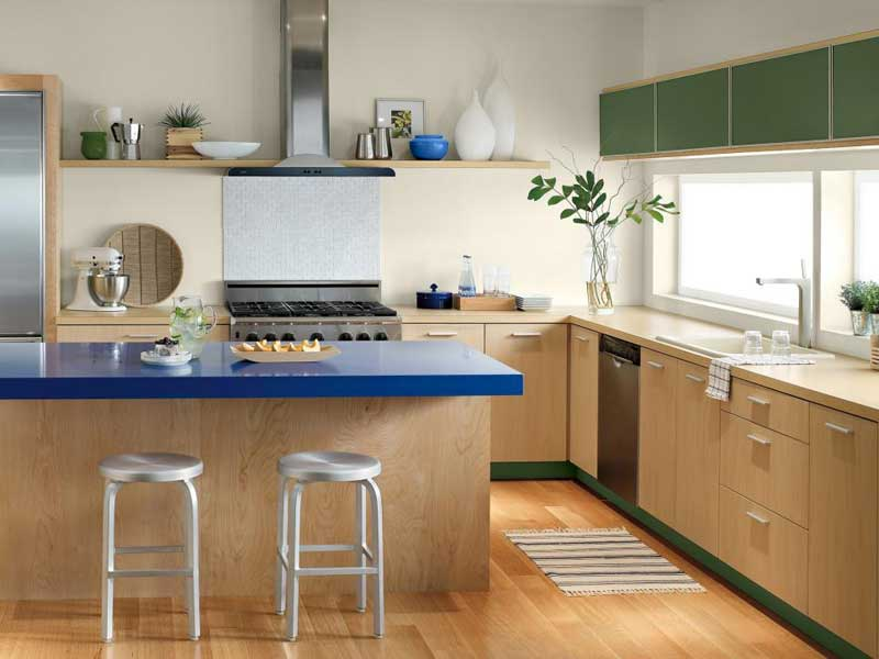 Bold Blue Kitchen Countertop