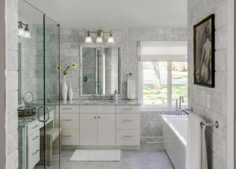 Bathroom with Brick Tile Wall