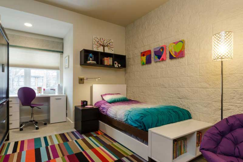 Bright Colors Teenage Girl Bedroom with Dark Wood Accents