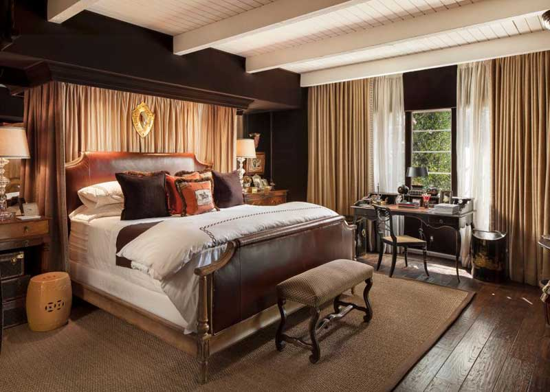 Brown Bedroom with Leather Bed
