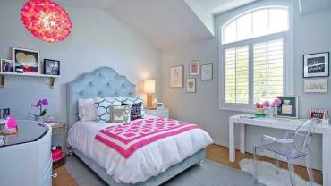 Gray Teenage Girl Bedroom with Pink Accents