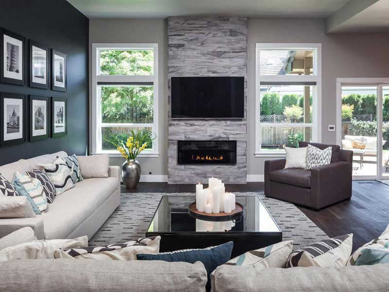 Gray Living Room With Black Accent Wall