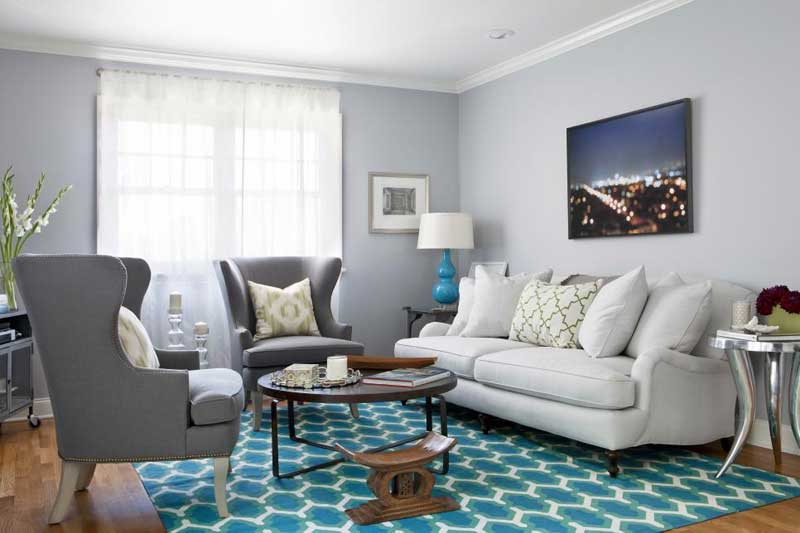 Gray Living Room With Blue Rug