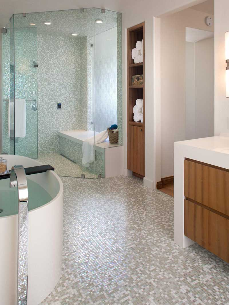 Bathroom with Gray and White Mosaic Tile