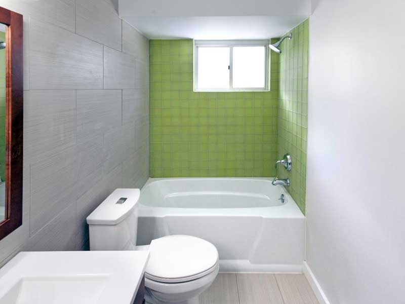 Bathroom with Green Tile Backsplash