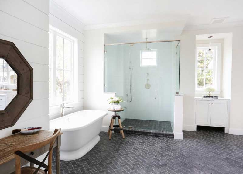 Bathroom with Herringbone Tile Floor