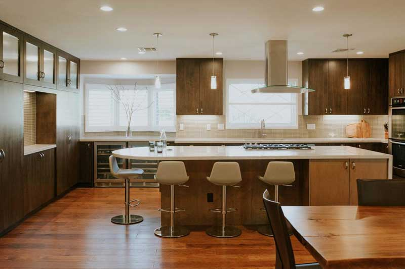Large Kitchen Island With White Countertop