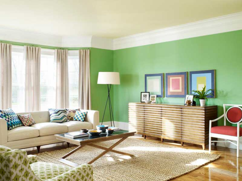 Living Room With Colorful Green Walls