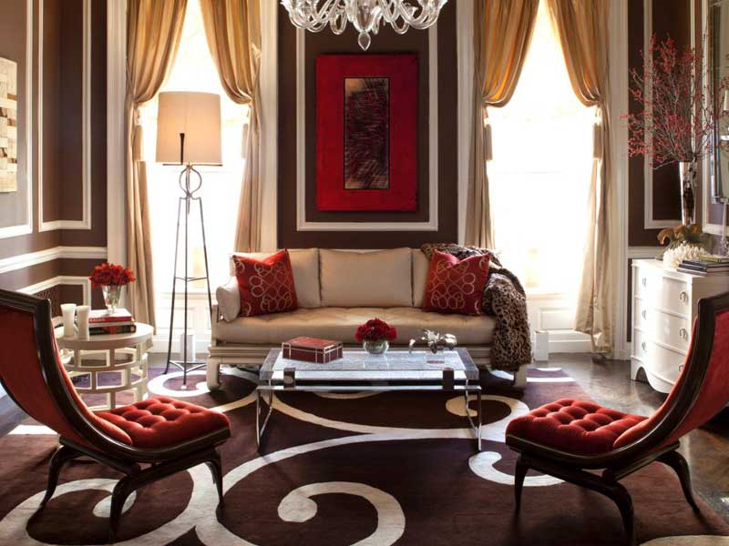 Living Room With Red And Brown Accents Part 35