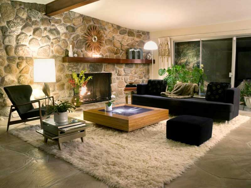Modern Living Room With Stone Wall