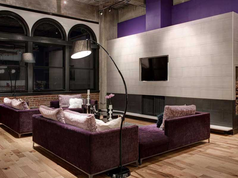Modern Living Room with Purple Sofa