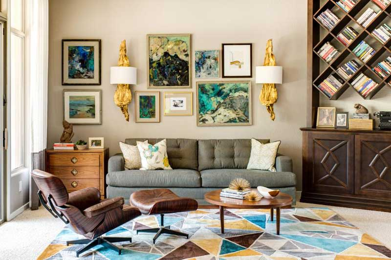 Multicolored Living Room With Gallery Wall Part 30