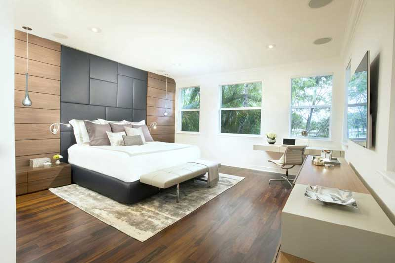 Neutral Bedroom With Gray Headboard
