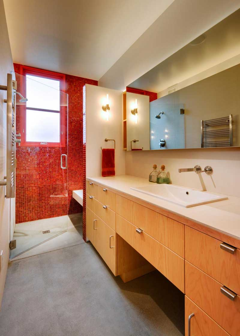 Bathroom with Orange Shower Tile