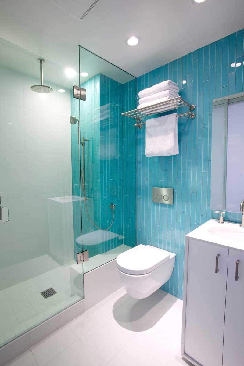 Bathroom with Vertical Turquoise Tile