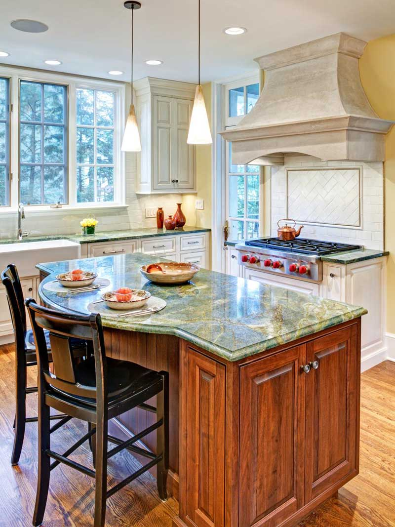 Wood Kitchen Island With Green Marble-Topped