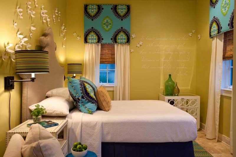Yellow Bedroom With Blue Valances