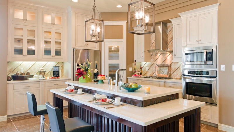 Kitchen Island With Cage Chandelier Lighting
