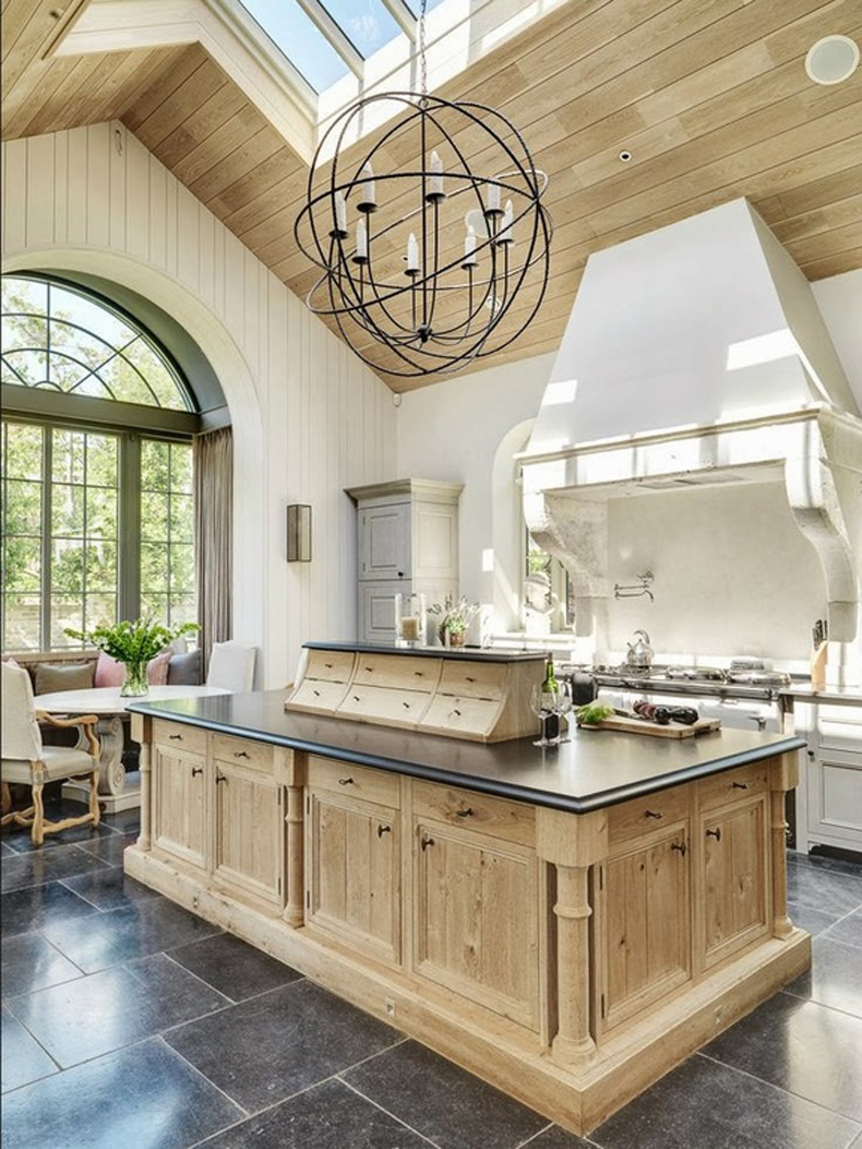 Kitchen Island with Foucault Orb Chandelier