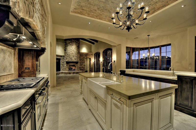 Kitchen Island with Iron Candle Chandelier
