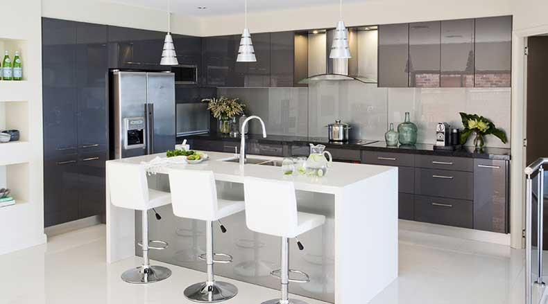Modern Sleek Galley Kitchen Island