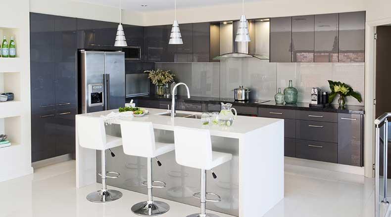 Modern Sleek Galley Kitchen Island