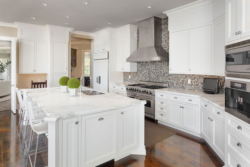 Superb White Kitchen With Marble Countertops Nice Design