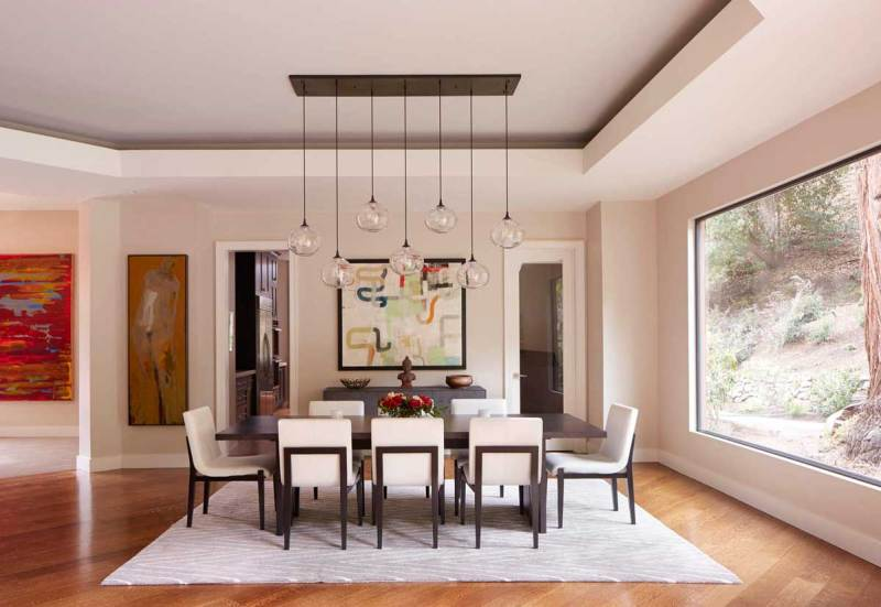 dining room with glass pendant light