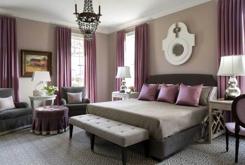 purple master bedroom with small globe chandeliers